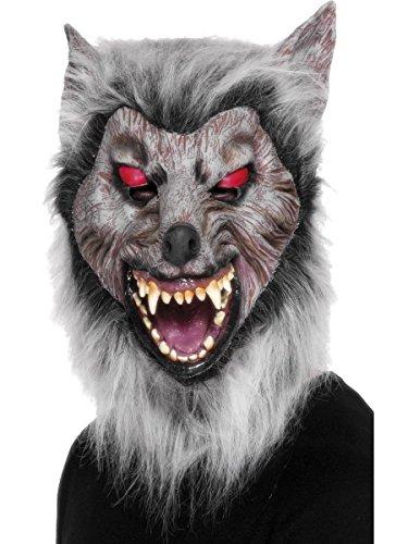 Kostüm Zubehör Überkopf Maske lauernder Werwolf in grau Halloween (Werwolf Kostüm Zubehör)