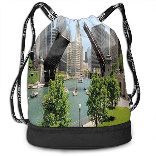 LULABE Printed Drawstring Backpacks Bags,Downtown Chicago Illinois Finance Business Center Lake Michigan Avenue Bridge,Adjustable String Closure