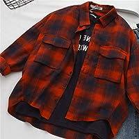 SeniorMar Retro Plaid T-Shirts Estilo de Muy Buen Gusto Coreano Camisas Casuales Sueltas Blusas y Blusas de Manga Larga con Cuello Redondo - Rojo XL