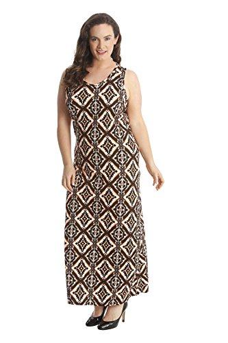 Ladies Plus Size Moroccan Tile Print Maxi Dress Rust 20