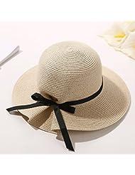 Sombrero de Hierba Verano Femenino Peque?o Protector Solar Protector de Sol Gran Sombrero Aleros Playa de Viajes Sol Cool Cap Playa Sombrero,Amarillo