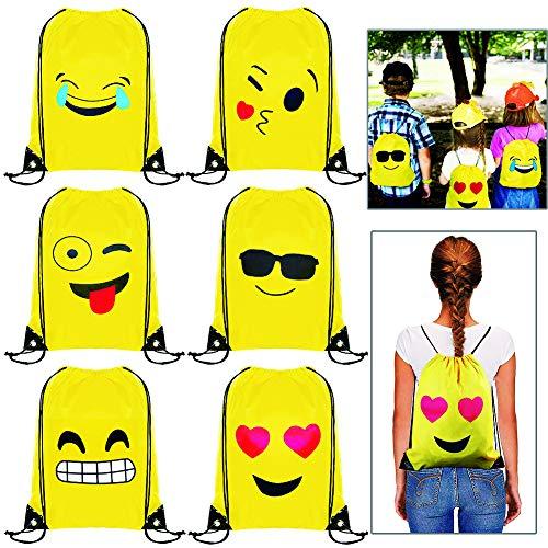 BESTZY Emoji Turnbeutel 6PCS Mitgebsel Kindergeburtstag Geschenktüte Mitbringsel Geschenktaschen Smiley Kinder Geburtstagsfeier Partytüten Partyzubehör(34*43CM)
