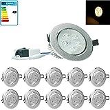 ECD Germany 10-er Pack LED Einbaustrahler 5W 230V - Rund Ø11cm - 353 Lumen - Warmweiß 3000K - schwenkbar 30° - IP44 - Einbauleuchte Leuchtmittel Lampe Spot
