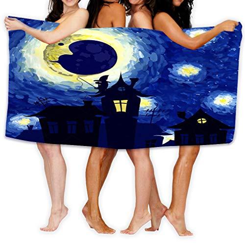 Xunulyn Microfiber Fast Drying Bath Towels Swimming Camping Towel,Adults Spa Bath Towel 31x51 Inches Starry Night Style Van Gogh Halloween Background C