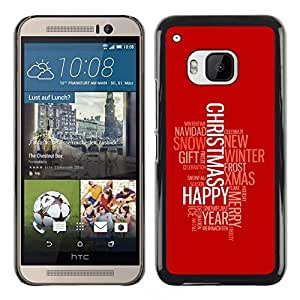 // MECELL CITY PRESENT // SmartPhone Schutzhülle Harte PC Hülle Plastik Etui Deckel Hülle kühles Bild HandyHülle Case for HTC One M9 /// MERRY GLÜCKLICHES WEIHNACHTEN ///