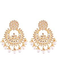 I Jewels Gold Plated Kundan Chandbali Earrings for Women (E2456WM)