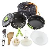 Campeggio pentole per 1–2persone Portable Campfire Cook kit 10pezzi Set di ciotole per utensili da cucina pan–leggero, compatto, per campeggio Backpacking Gear BBQ picnic all' aperto in pentola padella ciotola, Green