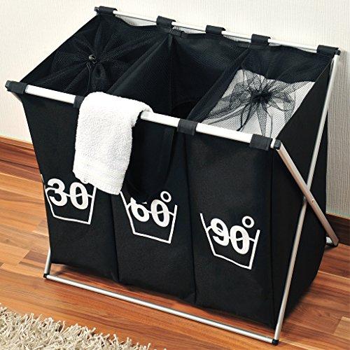 Wäschesortierer Wäschekorb Wäschesammler Wäschebox Trio 141 Liter (3 x 47 Liter) 3 Fächer zum Vorsortieren Sortieren der Wäsche nach Farbe oder Wasch-Temperatur mit Alu-Gestell (Schwarz) - 2