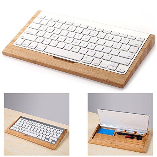 Itian Supporto di Tastiera Lengo Basi d'Appoggio Multifunzionali di Bamboo Keyboard Stand per Apple iMac PC Computer
