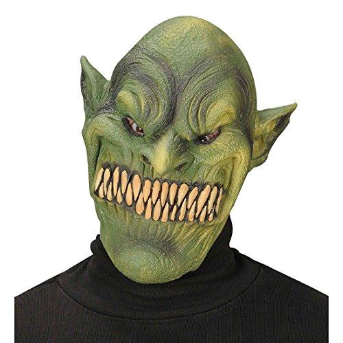 Kostüm Goblin - Amakando Goblin Horrormaske Monster Maske Grusel Gnom Trollmaske Troll Monstermaske Latex Fantasy Horror Zwerg Halloweenmaske Faschingsmaske Karneval Kostüm Zubehör