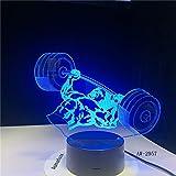PDDXBB Gewichtheben 3D Nachtlicht 7 Farben Ändern Acryl USB Neuheit Schreibtischlampe Visuelle...