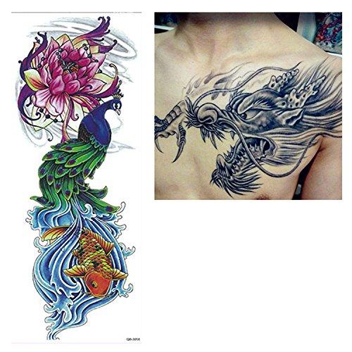 Preisvergleich Produktbild BigForest 2 Sheets Fashion Extra Large Temporre Ttowierung / Temporary Tattoo for Dragon and Phoenix ArtWear Tattoo / tattoo sticker