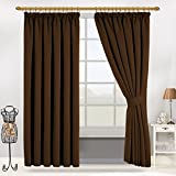 "Interwoven Supersoft Insulated Thermal Blackout Pencil Pleat Pair Curtains for living Room & Bedroom (46"" Width X 54"" Drop (117 x 137 CM), BROWN)"