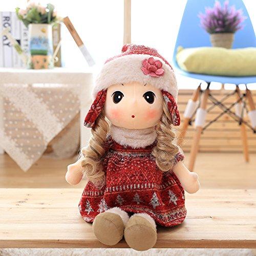 VERCART Puppe Tuch Doll Little Stuffed Spielzeug Interaktive Kinder Girl Junge Lernspielzeug Geburtstag Geschenk Rot 90cm