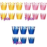 NUOLUX 18PCS Sombreros de corona Princesa Sombreros de fiesta de princesa Coronas para niños y adultos Decoraciones de cumpleaños (Golden Pink Blue)