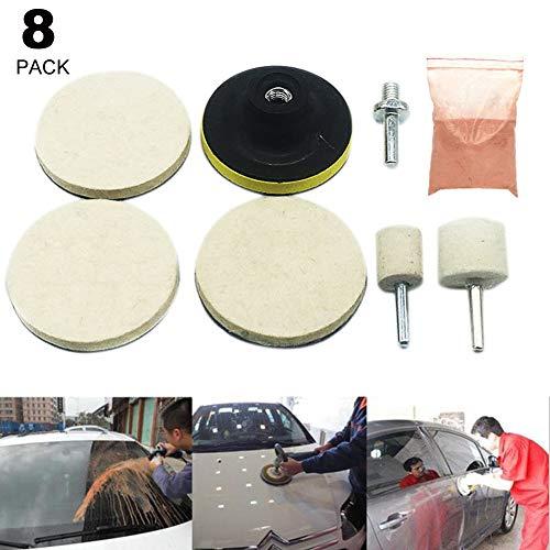 flydancing 8 Stück Glas Polieren Kratzer entfernen für Autofenster Windschutzscheibe Polieren Felgen Pad