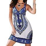 Damen Sommer Kleid Damen Sexy Elegant Kleider Frauen African Print Leibchen Ärmelloses Kleid Mode Damenkleid Strap V-Ausschnitt Lässiger Rock Keldier