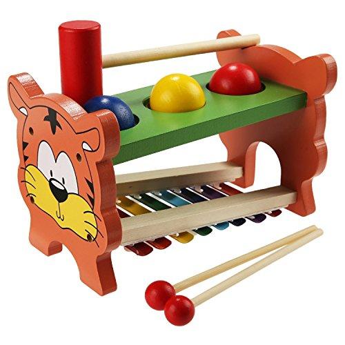 TLB Hammerbank Xylophon und Hammerspiel Kinder Klopfen Spielzeug Percussionset Baby Schlagzeug Spielzeug verbindet mit Musiktaste Selecta Battino Süßer Tigermuster