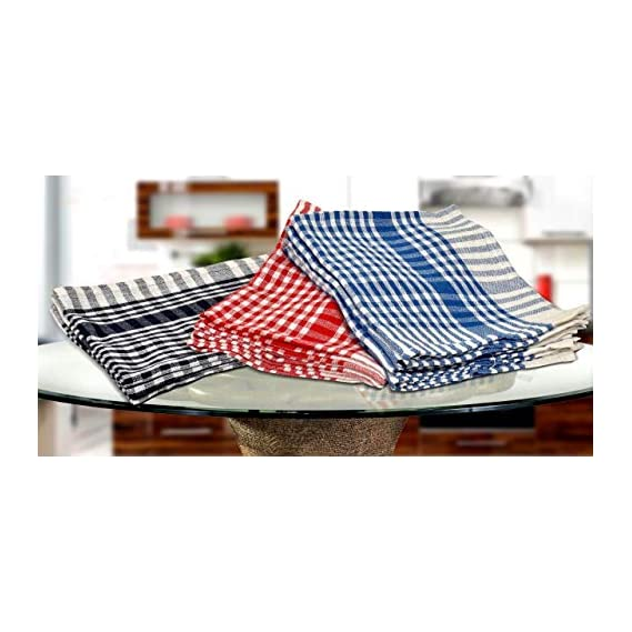 Manan Cotton Kitchen Towel, Dish, Wiping Cloths (15 x 15-inch, Multicolour) - Pack of 12