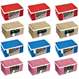 Homestrap Non Woven Storage Bag/ Organiser/ Saree Cover with window (High Quality 90 GSM Fabric) / Red,Blue,Pink & Beige / Set of 12
