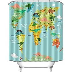 LB 180x180cm tela de poliéster de baño cortinas con 12 ganchos resistente al agua Mildew-Resistant | Dinosaurio Mapa del mundo | diseño de cortinas de ducha para baño decoración