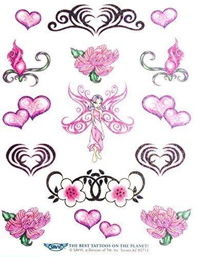 Temporary Tattoos Brillante 4 Ragazze, Cuori, Tatuaggi Temporanei, Fata, Gioielli