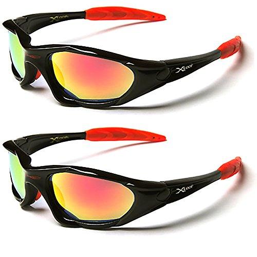 X-Loop® Sonnenbrillen-Doppelpack,Ski- und Sportsonnenbrille für Erwachsene,einzigartige Größe,UV400-Schutz. fürs Joggen/Skifahren/Snowboarden/Angeln/Radfahren (2x Sonnenbrillen) Gr. Medium, Premium Black (Loop Case Pack)