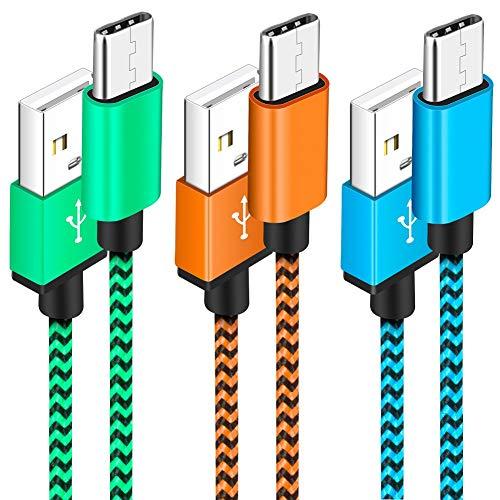 Cable USB C [3 Pack] Yosou Cable USB Tipo C 1M Duradero Nylon Cargador Tipo c Carga Rápida y Sincronización para Samsung S9/S8, MacBook Pro 2016, Huawei P9/P10/P20 y más - Azul, Verde, Naranja