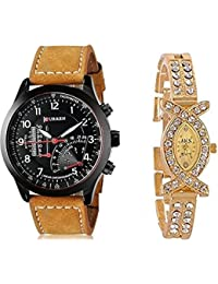 5bd08a391534 BLUTECH Analog Black Dial and Golden x Shape for Girls Combo Watches for  Couple