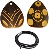 [Sponsored]eshoppee Handmade With Hand Engraving Work, Wooden Pendant Set Of 2 Pcs With One Mtr Cotton Cord For Necklace Making Art And Craft Diy Kit