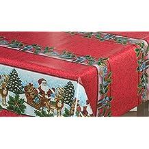 Mantel de Navidad, diseño clásico de WJDhome, fácil de limpiar con un paño,