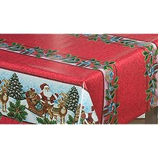 Mantel de Navidad, diseño clásico de WJDhome, fácil de limpiar con un paño, hecho de PVC, tamaño: 140cm x 200cm