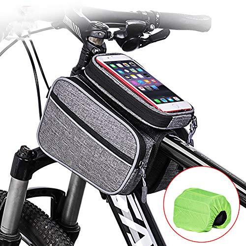 Fahrrad-Tasche, Fahrradrahmen-Tasche, Fahrrad-Tasche, wasserfest, Vorderrohr-Tasche, Touchscreen, geeignet für Mountainbike, Rennrad, Handy unter 15,2 cm, Grau