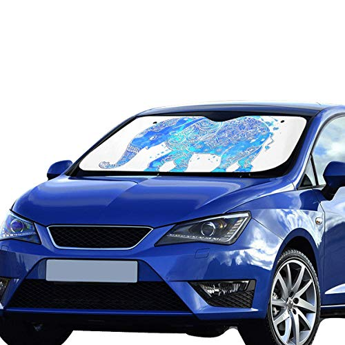 Sun Shade Cars Elefante azul Nariz larga Visera solar Ajuste universal Mantener el vehículo vehículo Reflector de calor fresco Sedanes Camión todoterreno 55 'x30' Sombra de ventana de coche niños