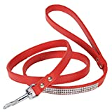 UEETEK Strass Hundeleine Katzenleine PU Leder mit Karabiner für Haustier Hund Katzen (Rot)