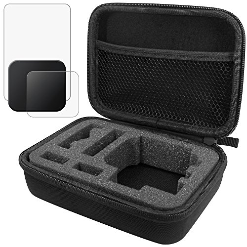 Protective Case for GoPro Hero 5 with Lens & Screen Protectors Protectors and Lens Cap, FineGood 1 Carrying Case with 2 Pcs Tempered Glass and 1 Plastic Lens Cover for Hero5 Test