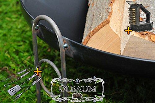 ÖLBAUM Holzfeuer XXL Premium-Feuerschale ca. 80 cm / 88-90 cm breit für Grill, Camping, Garten Lagerfeuer, Stahl LEICHT UND FORMSTABIL, mit 2 Griffen mit Grillbesteck und Bürste
