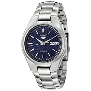 Seiko snk603k 1-5 Gent's Automatic Watch analogue watch, Blue Dial Steel Bracelet, Grey