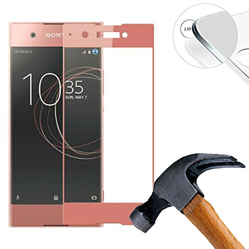 2 X Pack (vollständige Abdeckung) Panzerglasfolie Schutzfolie für Sony Xperia XA1 / Z6 5.0 zoll Ultra Hart Bildschirmschutz Tempered Glass Folie Screen Protector (Rosa)