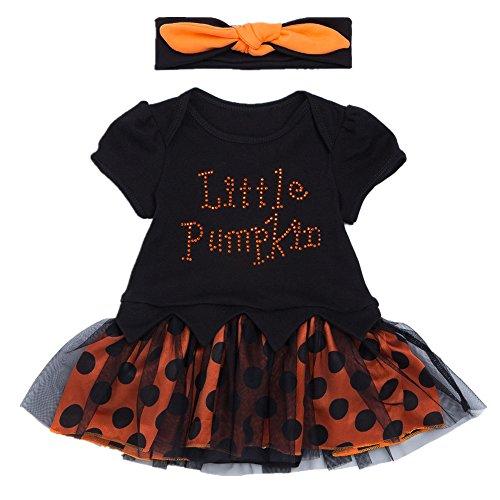 Halloween Monat Mädchen Kostüm 5 Altes Baby (Bom Bom Baby Mädchen Halloween Kostüm Kleider + Stirnband)