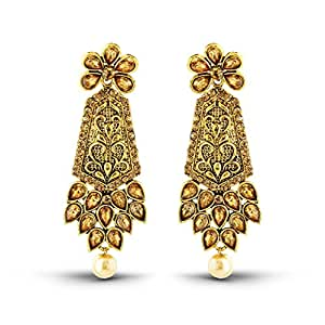 Rich Lady Exquitely Design Antique Gold Finish Pearl Drop Dangle Earrings