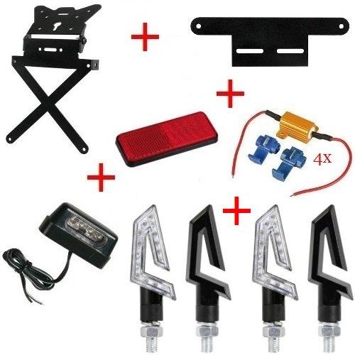 Kit für Motorrad Kennzeichenhalter + 4+ Blinker Kennzeichenbeleuchtung + catarif.+ Supp.+ 4Resis. Lampa Kawasaki ZZR 12002002–2005