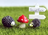 secretrain Miniatur Kunstharz Garten Fee Ornament Flower Pot Blumentopf Home Decor Igel & Pilz Set Hedgehog Set