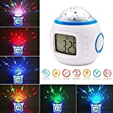 Zollyss Sky Star Children Baby Room Night Light Projector Lamp Bedroom Music Alarm Clock Home Décor