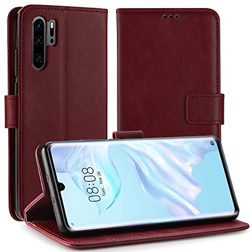 Simpeak Ersatz für Huawei P30 Pro Hülle Rot [6,1 Zoll], Case Cover handyhülle für Huawei P30 Pro flipcase [Kartensteckplätze] [Stand Feature] [Magnetic Closure Snap] Rot Cover Case Snap