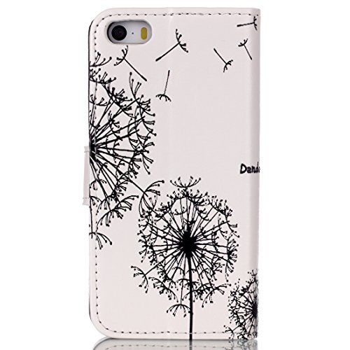 iPhone 5S Wallet Case, Felfy Ultra Slim Flip pour / Apple iPhone 5S 5 / PU Leather Cuir Portefeuille Cover Etui Housse Coque Coquille / Relief Elegant Pink Rose Fleur Pattern / 1x Pink Strass Flower A Dandelion Lovers