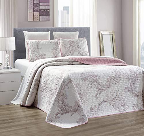 GrandLinen 3-teiliges Bettwäsche-Set, fein, Bedruckt, wendbar, Tagesdecke, Tagesdecke, Tagesdecke für King-Size-Betten und King-Size-Betten Oversize Queen Purple/White Floral (White Queen-size-betten)