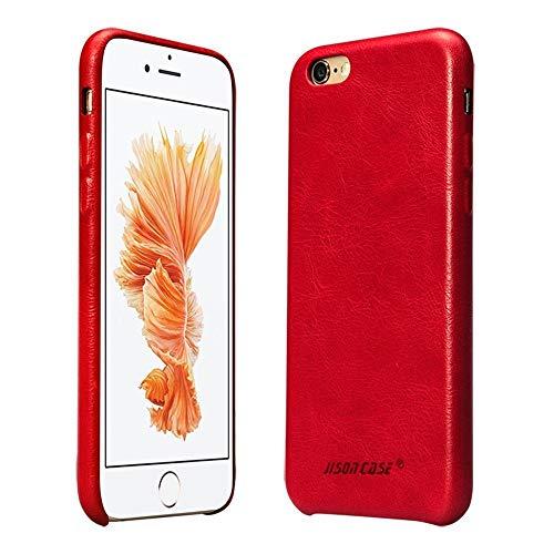 Jisoncase JS Premium Echt Leder Sleek Case Rückabdeckung Slim Snap auf Hard Case für iPhone 6/6S Plus js-i6u-01a10, Leder, rot, iphone /s Echt Leder Snap