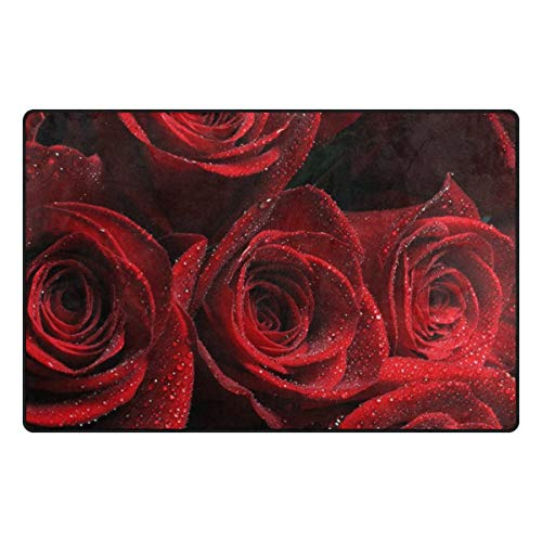 Decorator Werfen (eruerueruruer Super Soft Modern Valentine's Day Red Rose Area Rugs Living Room Carpet Bedroom Rug for Children Play Solid Home Decorator Floor Rug and Carpets 60 x 39 Inch)