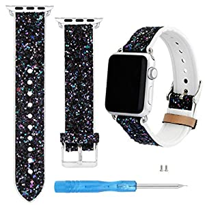 Dkings Kompatibel mit iWatch Band 42mm 44mm, Echtlederband Ersatzband Kompatibel mit Apple Watch Serie 4 Serie 3 Serie 2 Serie 1 42mm 44mm